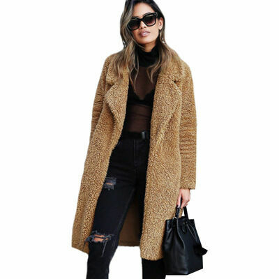 Womens Teddy Bear Parka Long Knee Coat Ladies Winter Faux Fur Jacket Outerwear
