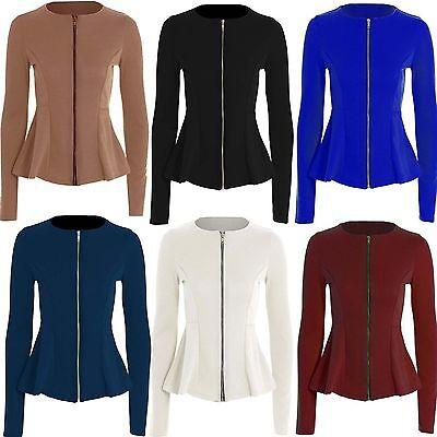 Womens Ladies Zip Peplum Ruffle Plus Size Tailored Blazer Jacket Top Size 6-24
