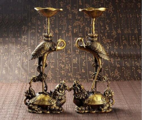 Antique china brass hand made dragon turtle Red-crowned crane lotus Candlestick