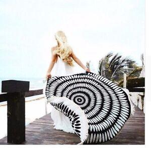 New-Gorgeous-Black-White-Sarong-Picnic-Mat-with-Fringe