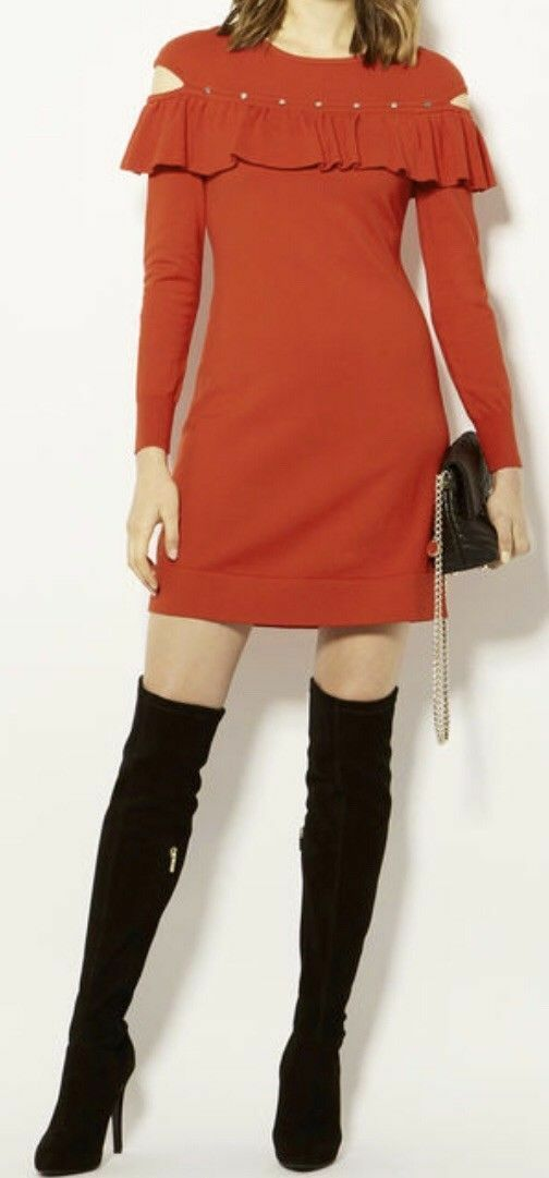 Medium 10-12 UK KAREN MILLEN Red Ruffle Shoulder Knit Fitted Jumper Mini Dress