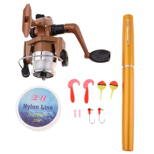 MagiDeal Mini Fishing Set Pen Aluminum Alloy Fishing Rod Pole Reel Line Hook