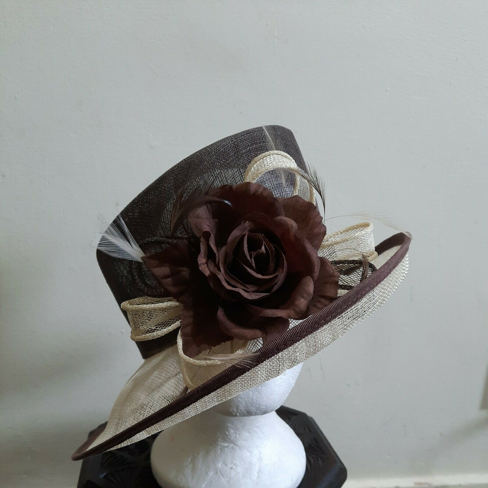 Fabulous Brown /cream White Wedding Hat by Linea