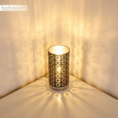 Nacht Tisch Lese Lampen Stoff grau//silber Wohn Schlaf Zimmer Raum Beleuchtung