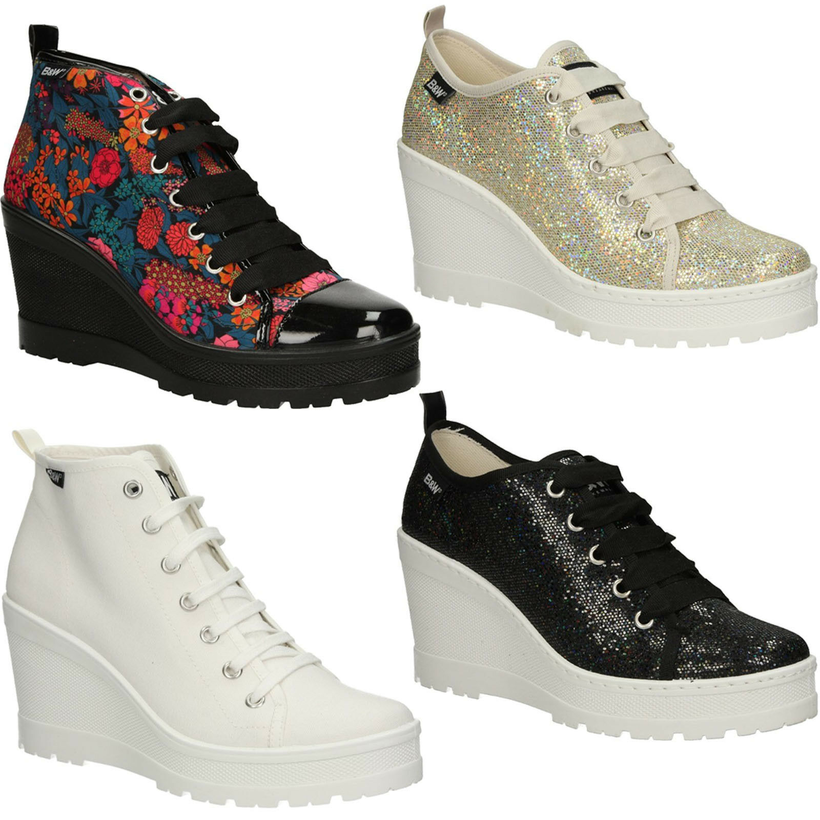 Chaussures Femmes Baskets b&w TALON COMPENSE Plate-Forme Chaussure Lacée Taille 36-41 Neuf