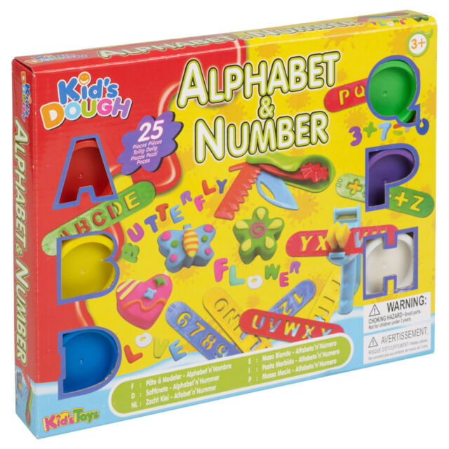 25pc Kids Play Craft Dough Alphabet & Number Tubs & Shaping Children Sets Xmas