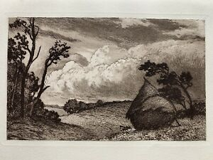 Marc henry meunier engraving water forte etching the gust of wind storm