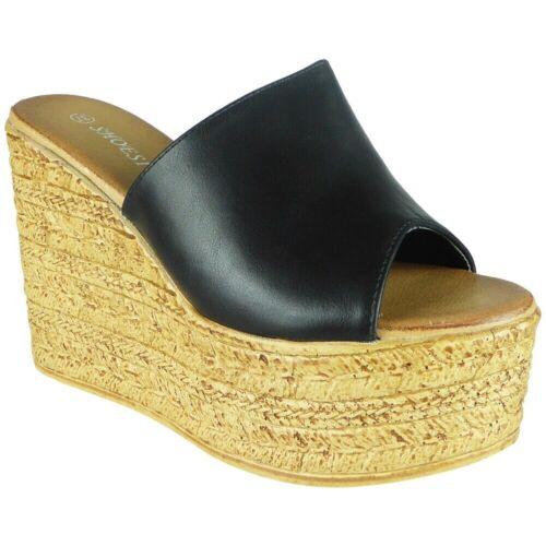 Nouveau Femme Bout Ouvert Mules compensé très haut plate-forme Casual Comfy Chaussures Taille