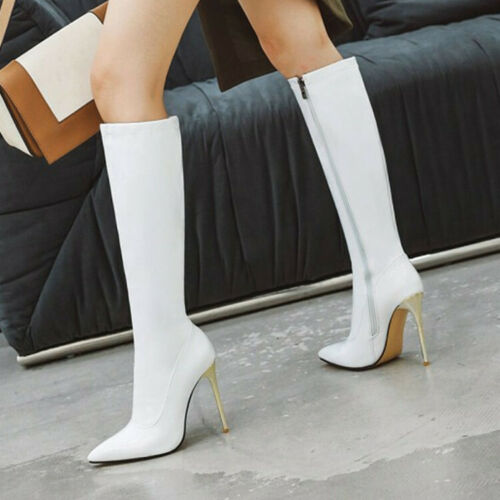 Womens Patent Leather Stiletto Heel Knee High Thigh Boots Zip Pointy Toe 34-48