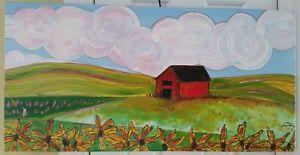 Jami-Tobey-Kiendra-1974-listed-artist-signed-Field-of-Sunflowers-painting-EC
