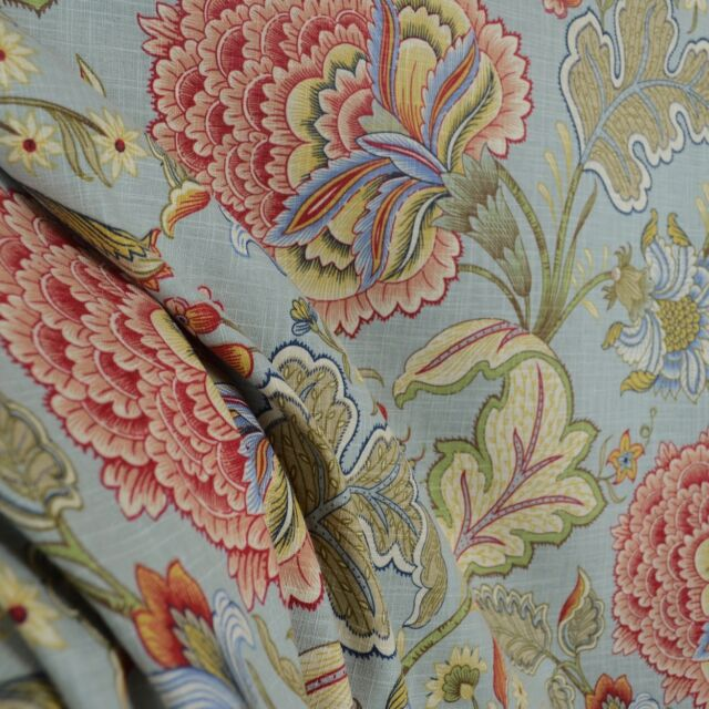 Meadowlark Surf Floral Blue Jacobean Fabric