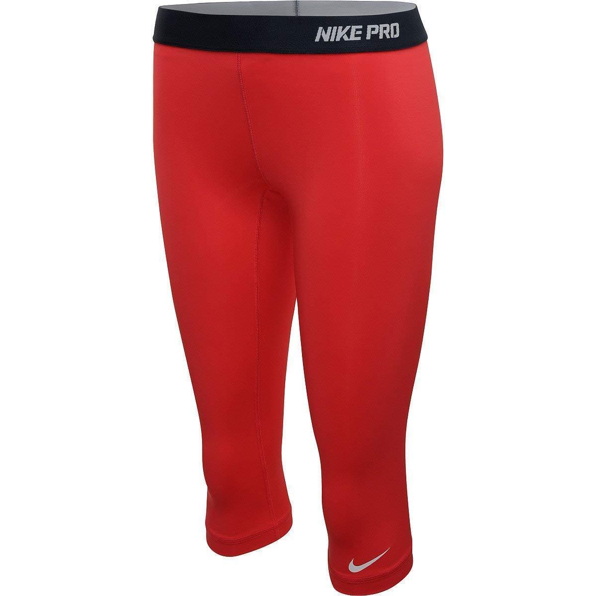 NEW  FUSION RED [S] NIKE PRO Women's Capri Tights Pants DRI-FIT SMALL