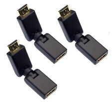 3 x HDMI HD 3D 360 Swivel Adjustable Male Female Connector Gold Adapter Dongle