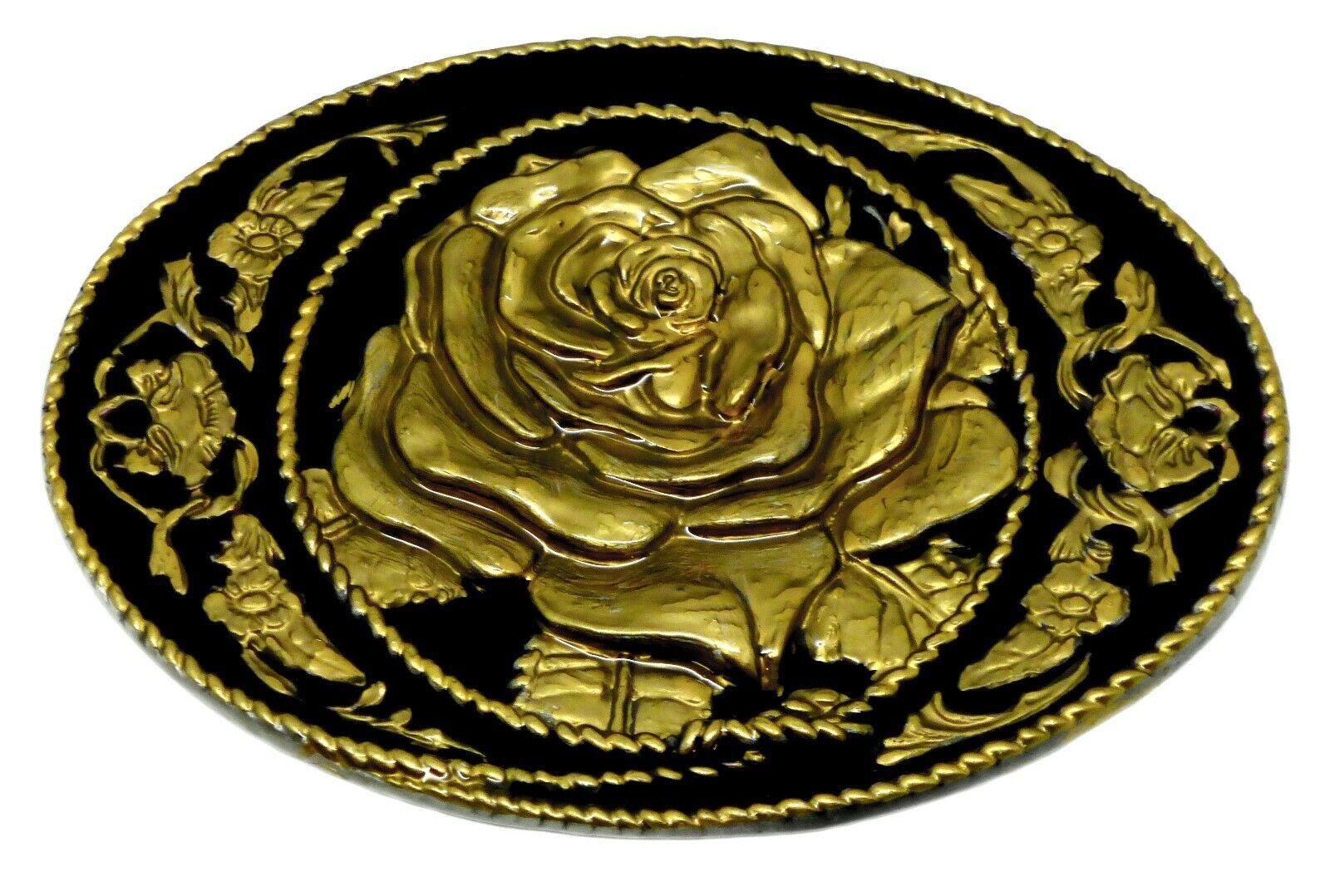 Gothic Rose Belt Buckle Black & Gold Western 3D Floral Oval Authentic Siskiyou