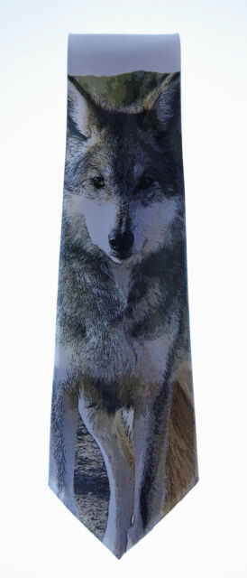 Standing Wolf Novelty Neck Tie Animal 100/% Polyester W2 White Formal NEW
