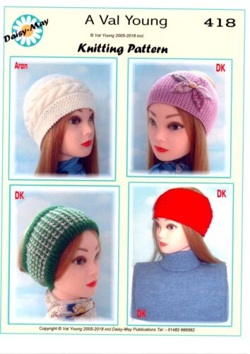 POLO NECK INSERT plus 4 knitted HEADBANDS Knitting   418 BY Val young