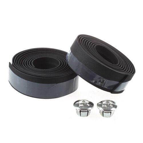 Wrap--Black--With 2 Bar Plugs A8J5 Road Bike Bicycle Handlebar Tape