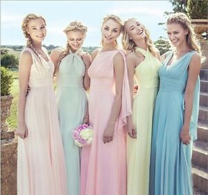 Image Is Loading 2016 17 Multiway Convertible Chiffon Bridesmaid Dresses Uk