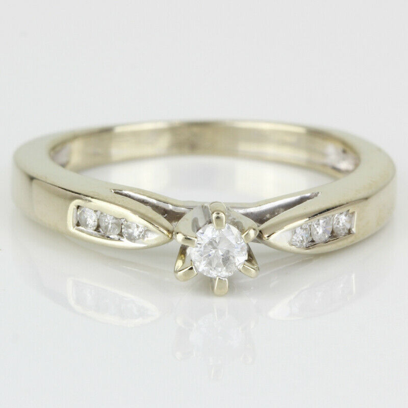 14k Gold Diamond Solitaire Ring w/ Accents - image 2