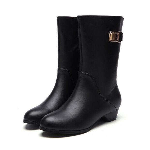 botas stivaletti bassi anfibi zapatos 3.5 cm negro eleganti pelle sintetica 9496