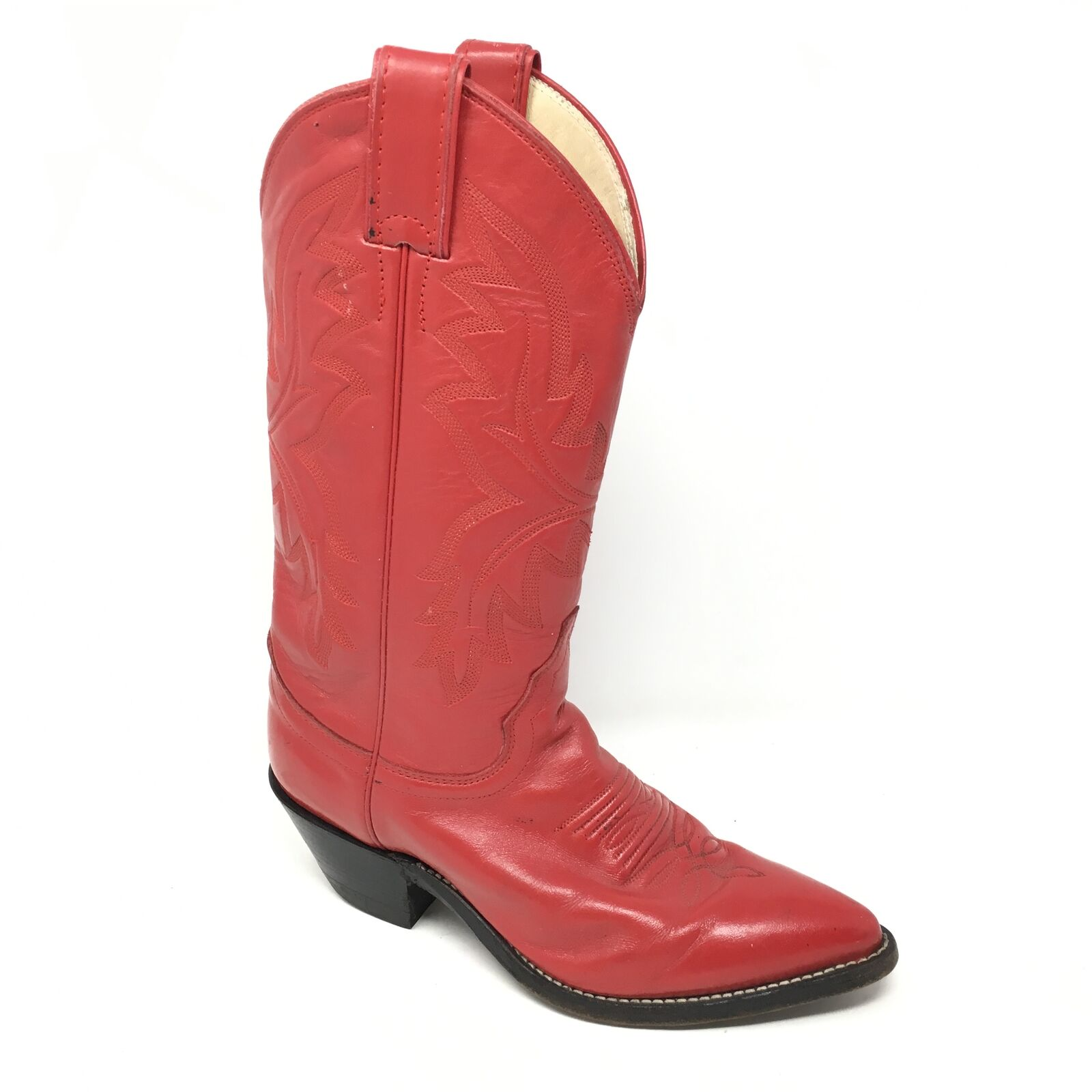 Women's Justin L4905 Western Boots shoes Size 5.5C Wide Red Leather Cowboy V3