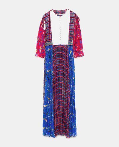 ZARA STUDIO PLISSEE MAXI KLEID BLUMEN LONG FLORAL PRINTED DRESS PLEATED SIZE L