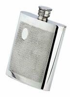4 Oz. English Pewter Flask With Barley Finish, Initial Engraved Free, In Box