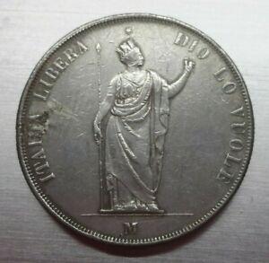 5-LIRE-1848-GOVERNO-DI-LOMBARDIA-ITALIA-LIBERA-Condizioni-in-B-con-saldatura