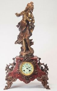 Large-Art-Nouveau-Figural-Mantle-Clock