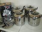 New 4 sets Jarhill 10/8/7/6 QT Euro Style Stainless Steel Stock Steamer w/Lids