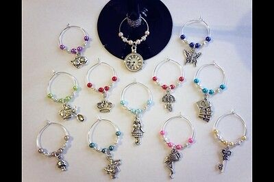 Wine Glass Charms 12 Mad Hatter's Tea Party Alice In Wonderland Party Decoration
