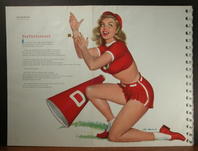 Al Moore 1950's Large Pinup Esquire Centerfold Perfectionist Cheerleader