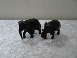 2-x-Wood-Elephant-Africa-Carving-Handgefertigt