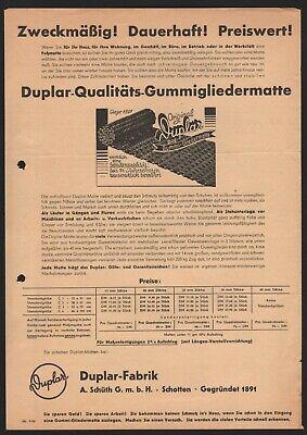 Mutig Schotten, Brief+prospekt 1957, Duplar-fabrik A Schüth, Hier: Gummi-gliedermatten