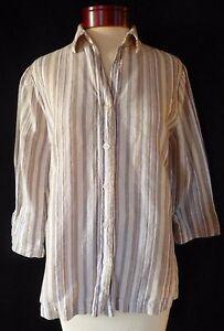 Croft-amp-Barrow-Tan-Striped-Linen-Blend-Button-Down-Shirt-Petite-Medium-Women-039-s