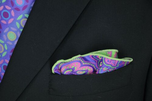 Lord R Colton Masterworks Pocket Round Vesuvio Eggplant Silk $75 Retail New