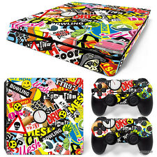 PS4 Slim Playstation 4 Console Skin Decal Sticker Graffiti Custom Design Set