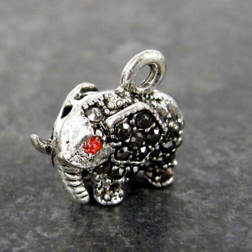5 x Diamante de Imitación Elefante Rubí Charms Plata Antigua Aleación Colgante Pulsera CH33