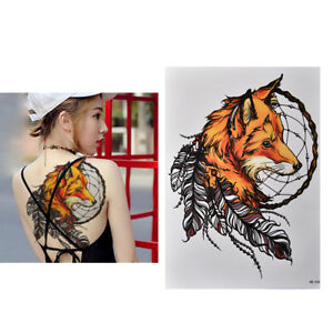 Waterproof-Fox-Dreamcatcher-Temporary-Tattoo-Large-Arm-Body-Art-Tattoos-Stick-RS