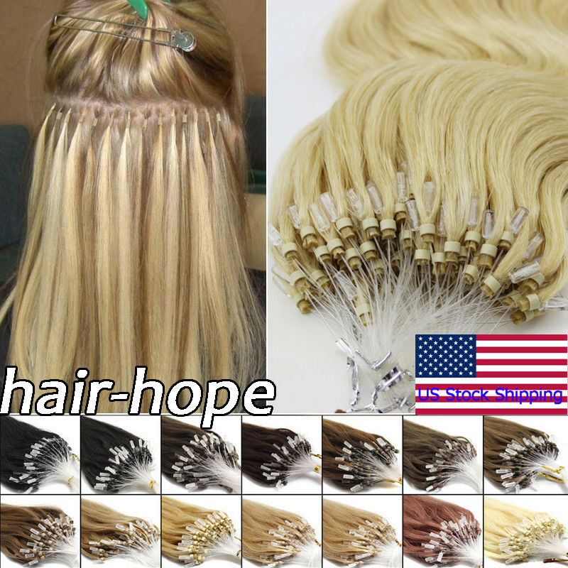 Diy Style Micro Ring Beads Loop Tip Hair Extensions Remy Human Hair