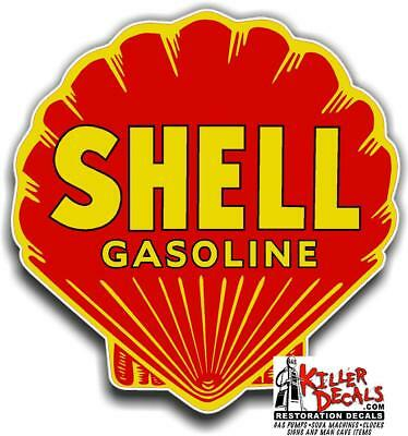 """shell #11 6/"""" RED SHELL gasoline pump LUBSTER DECAL GAS OIL STICKER"""