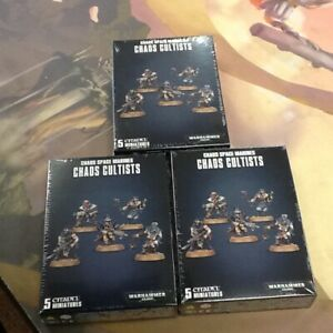 Chaos-Cultists-Chaos-Space-Marines-40K-Warhammer-Sealed-X3-Box-15-Mini-039-s