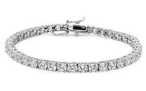 925 Real Blue Topaz & Cz Stone Solid Silver 11 Ct Bracelet Free 3 Days Delivery Engagement & Wedding