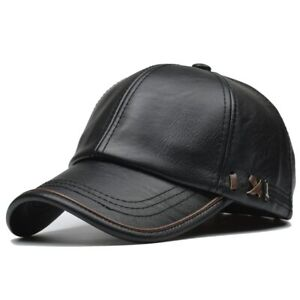 Solid PU Leather Hat Winter Warm Cowhide Baseball Cap Men Motorcycle Hats