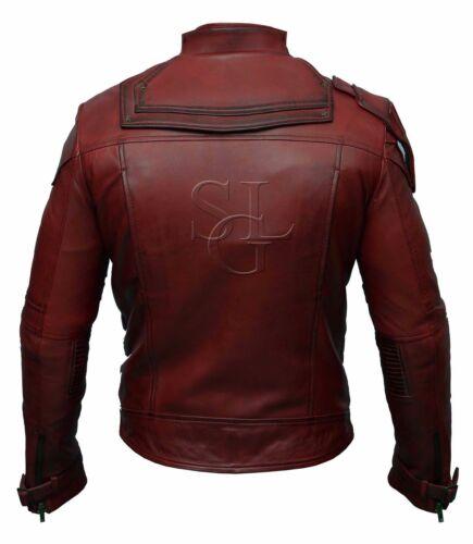 Guardians of the Galaxy 2 Star Lord Chris Pratt Maroon Real Leather Jacket BNWT