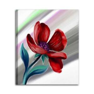 Quadri moderni dipinti a mano olio su tela rosso fiore for Quadri di fiori ad olio