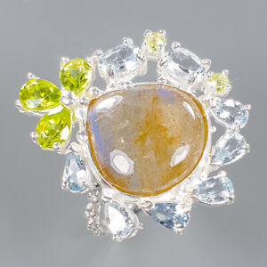 Labradorite Ring Silver 925 Sterling Gemstone Jewelry Size 7.75 /R138997
