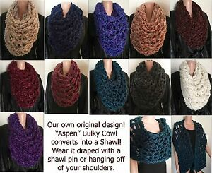Aspen-Bulky-Cowl-Shawl-Combo-Multiple-Colors-Available-Handmade-in-the-USA
