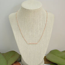 Rose Gold Beaded Simple Bar Necklace with Rose Gold Delicate Dainty Chain