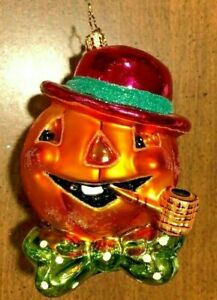 9 HALLOWEEN RADKO JACK O LANTERN PUMPKIN /& BALL GLASS ORNAMENTS ORANGE BLACK